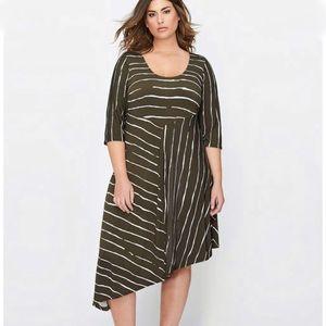 NWT Michel Studio Asymmetric Printed Dress 1X